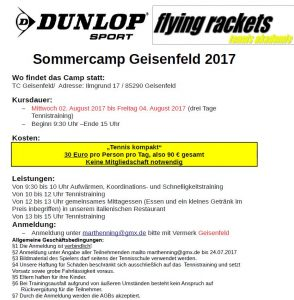 Sommercamp Geisenfeld @ TC Geisenfeld | Geisenfeld | Bayern | Deutschland
